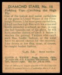 1935 Diamond Stars #16  Lloyd Waner   Back Thumbnail