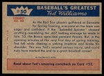 1959 Fleer #50   -  Ted Williams Spring Injury Back Thumbnail