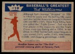 1959 Fleer #19   -  Ted Williams  Wins the Triple Crown Back Thumbnail
