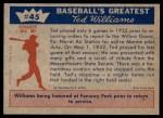 1959 Fleer #45   -  Ted Williams Farewell To Baseball Back Thumbnail