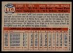 1957 Topps #119  Stan Lopata  Back Thumbnail