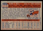 1957 Topps #113  Wilmer Mizell  Back Thumbnail