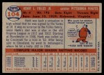 1957 Topps #104  Hank Foiles  Back Thumbnail