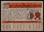 1957 Topps #203  Hoyt Wilhelm  Back Thumbnail