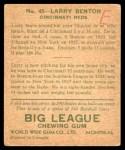 1933 World Wide Gum #45  Larry Benton    Back Thumbnail