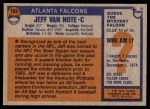 1976 Topps #164  Jeff Van Note  Back Thumbnail