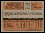 1972 Topps #256  George Foster  Back Thumbnail