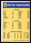 1970 Topps #563   Red Sox Team Back Thumbnail