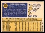 1970 Topps #710  Felix Millan  Back Thumbnail