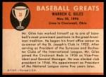 1961 Fleer #33  Warren Giles  Back Thumbnail