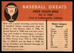 1961 Fleer #96  Donnie Bush  Back Thumbnail
