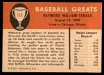1961 Fleer #136  Ray Schalk  Back Thumbnail