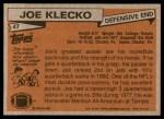 1981 Topps #47  Joe Klecko  Back Thumbnail