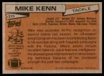 1981 Topps #215  Mike Kenn  Back Thumbnail