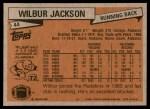 1981 Topps #44  Wilbur Jackson  Back Thumbnail