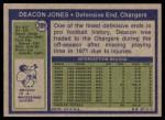 1972 Topps #209  Deacon  Jones  Back Thumbnail