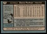 1980 Topps #310  Dave Parker  Back Thumbnail
