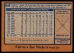 1978 Topps #306  Joe Niekro  Back Thumbnail