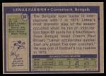 1972 Topps #307  Lemar Parrish  Back Thumbnail