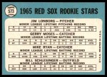 1965 Topps #573   -  Jim Lonborg / Mike Ryan / Gerry Moses / Bill Schlesinger  Red Sox Rookies Back Thumbnail