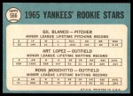 1965 Topps #566   -  Gil Blanco / Art Lopez / Ross Moschitto Yankees Rookies Back Thumbnail