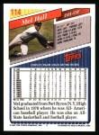 1993 Topps #114  Mel Hall  Back Thumbnail