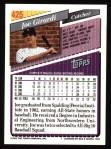 1993 Topps #425  Joe Girardi  Back Thumbnail