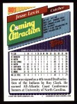 1993 Topps #801  Jesse Levis  Back Thumbnail