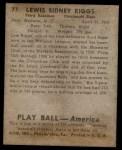 1939 Play Ball #77  Lew Riggs  Back Thumbnail