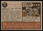 1962 Topps #406  Bob Taylor  Back Thumbnail