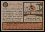 1962 Topps #517  Dave Wickersham  Back Thumbnail