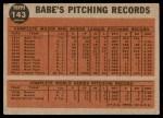 1962 Topps #143 NRM  -  Babe Ruth Greatest Sports Hero Back Thumbnail