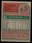 1975 Topps #566  Ray Burris  Back Thumbnail