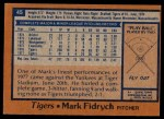 1978 Topps #45  Mark Fidrych  Back Thumbnail