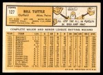 1963 Topps #127  Bill Tuttle  Back Thumbnail
