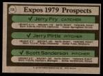 1979 Topps #720   -  Jerry Fry / Jerry Pirtle / Scott Sanderson Expos Prospects Back Thumbnail