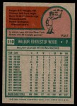 1975 Topps #110  Wilbur Wood  Back Thumbnail