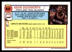 1992 Topps #60  Kevin Duckworth  Back Thumbnail