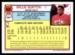 1992 Topps #62  Willie Burton  Back Thumbnail