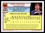 1992 Topps #98  Chris Corchiani  Back Thumbnail
