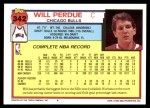 1992 Topps #342  Will Perdue  Back Thumbnail