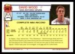 1992 Topps #367  David Wood  Back Thumbnail