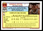 1992 Topps #378  Donald Royal  Back Thumbnail