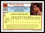 1992 Topps #55  Brian Williams  Back Thumbnail