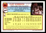 1992 Topps #94  Cliff Robinson  Back Thumbnail