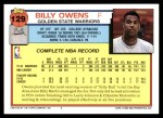 1992 Topps #129  Billy Owens  Back Thumbnail
