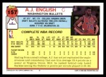 1992 Topps #157  A.J. English  Back Thumbnail