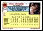 1992 Topps #190  Kevin Johnson  Back Thumbnail
