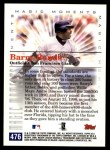 2000 Topps #476 A  -  Barry Bonds 400 Homeruns / 400 Stolen Bases Career - Magic Moments Back Thumbnail