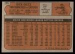 1972 Topps #295  Dick Dietz  Back Thumbnail